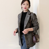 2018 Spring New Korean Version Of The Retro Plaid Small Suit Jacket Female Straight Single Breasted