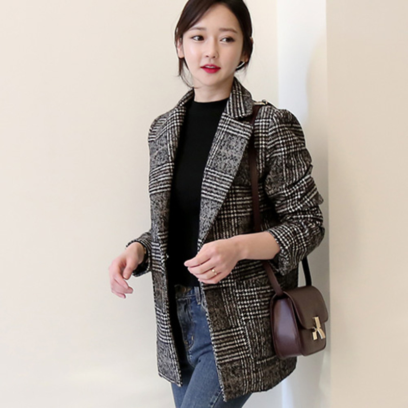 2018 spring new Korean version of the retro plaid small suit jacket female straight single-breasted casual woolen suits 2018 spring new style korean version of the white suit of the boy children s small suit flower girl dress boy presided over