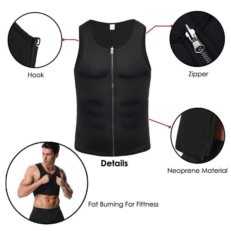 Мужской тренировочный жилет для пота и талии, Неопреновая футболка для тренировок жилет с эффектом сауны, потный шейпер для живота, сжигание жира