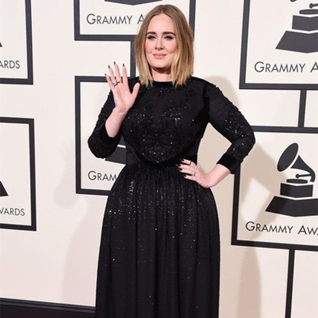 2017 new black chiffon celebrity dresses Inspired by Adele red ...