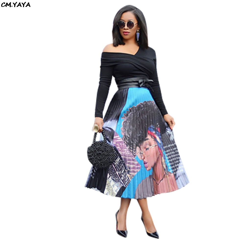 2019 new women vintage cartoon print sexy high waist mid-calf length pleated skirts active wear casual skirt 3 color LD8277(China)