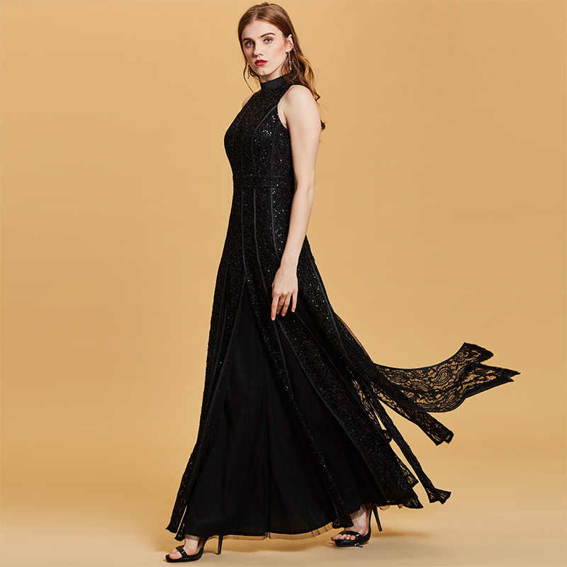 4dfaeeb325dac Tanpell sequins long evening dress sexy black sleeveless floor length a  line gown women scoop neck empire formal evening dresses