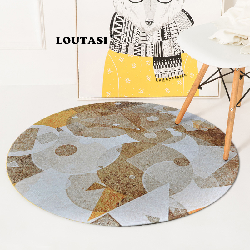 LOUTASI Geometric Round Carpet Carpet for Living Room Computer Chair Table Floor Mat Kids Tent Area Rug Cloakroom Rugs Carpets