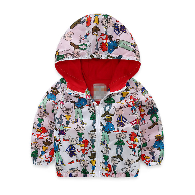 Hurave Новый весна-осень милые повседневные куртки для мальчиков пальто с принтом животных дети Жакет для детей с капюшоном Детская верхняя од...