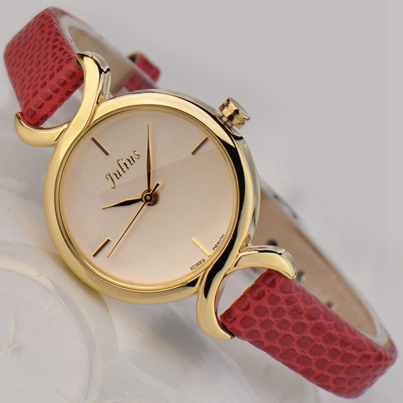 281e1ede25fa Julius Caliente Famoso reloj de la Marca de Las Mujeres relojes de pulsera  de cuero relojes vestido de las mujeres reloj de cuarzo ocasional reloj De  ...