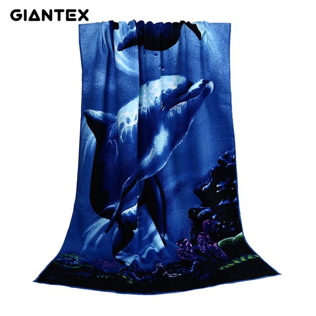 GIANTEX Dolphin Print Super Absorbent Bath Beach Towels Soft Microfiber Towels Drying Washcloth Swimwear Shower 70x150cm U1154