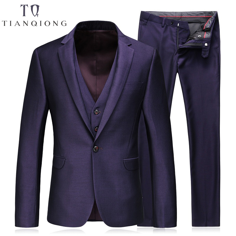 TIAN QIONG 3 Piece 2018 New Spring Brand Men's Slim Fit Business Suit Male Good Groom Wedding Dress Men Blazers Suits With Pants