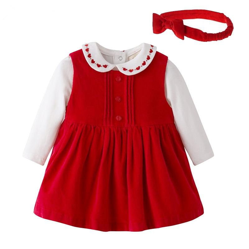 Baby Girl Clothing Set Newborn Baby White Embroidery Bodysuit Red Corduroy Dress Bow Hairband Set Girls Birthday Clothing