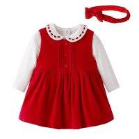 Baby Christmas Set Newborn Baby White Embroidery Bodysuit Red Corduroy Dress Bow Hairband Set Princess Girls
