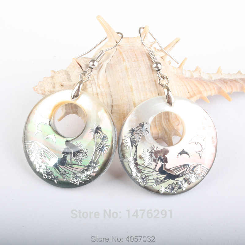30x30MM Natural Abalone Shell Mermaid Donuts Dangle Jewelrly Earrings 1Pair