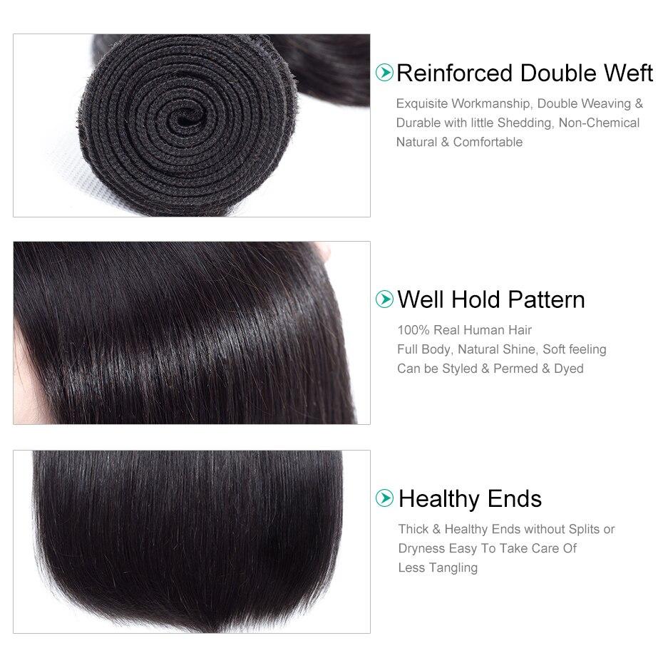 Gabrielle Straight Hair 3 Πακέτα με Κλείσιμο - Ανθρώπινα μαλλιά (για μαύρο) - Φωτογραφία 5