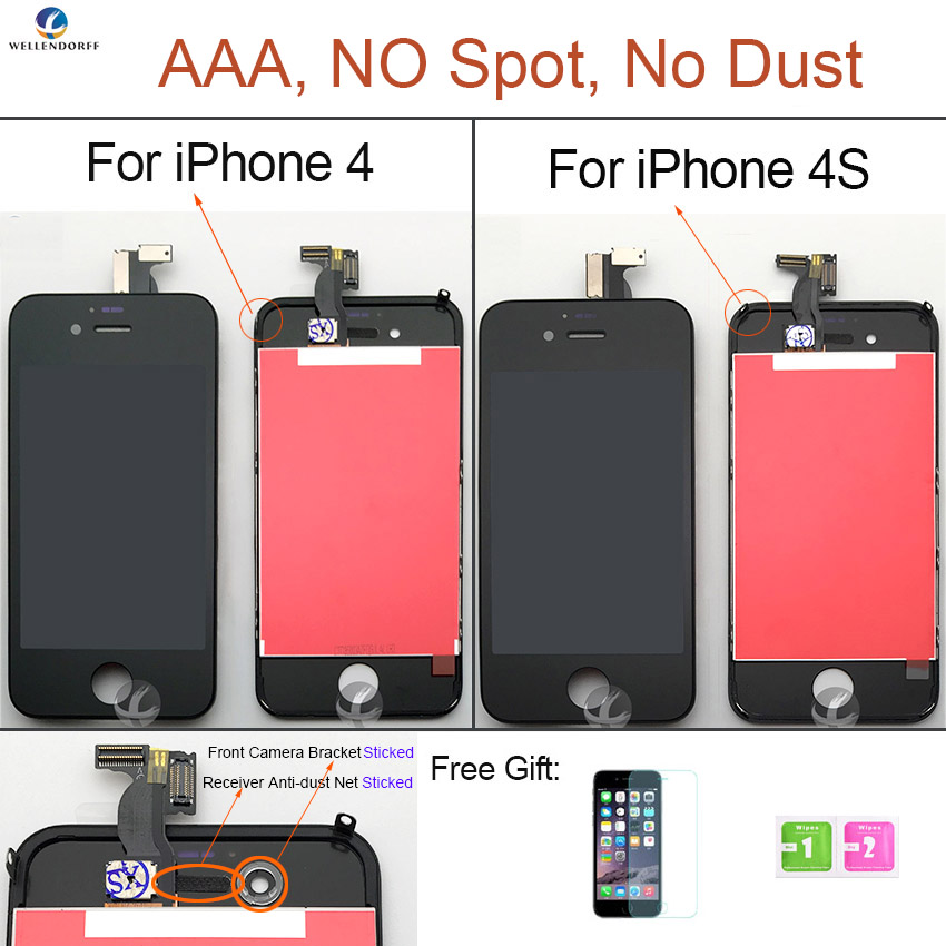 LCD Screen For iPhone 4 4S LCD Dispaly Touch Screen Digitizer Assembly AAA Quality 100% Tested OK No Dust No Dead Pixel