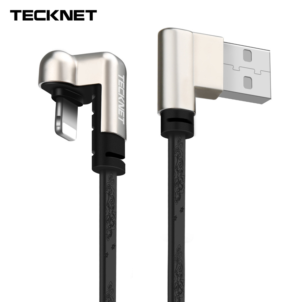 TeckNet USB Cable for iPhone Game Cables L Bent 5V2.4A Fast Charging Cord for iPhone X 8 7 6 Plus 6S 5S 5C SE Charger Adapter