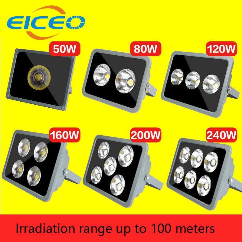 (EICEO) LED Flood Light Outdoor Lighting Reflector Lights Projector Spotlight Lamp Project Lamps AC85-265V IP65 50W 100W 160W ultrathin led flood light 200w ac85 265v waterproof ip65 floodlight spotlight outdoor lighting free shipping