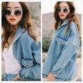 Bf Harajuku Vento de Outono Mulheres Jaqueta Jeans 2017 Primavera Do Vintage Oversize Solta Calça Jeans Femininos Sólidos Brasão Magro Chaquetas Mujer