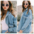 Bf Wind Autumn Women Denim Jacket 2017 Spring Vintage Harajuku Oversize Loose Female Jeans Coat Solid Slim Chaquetas Mujer