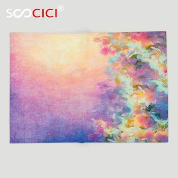 Custom Soft Fleece Throw Blanket Purple Watercolor Style Effect Spring Cherry Blossom Decorations for Home Print Marigold
