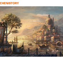 CHENISTORY Urban Landscape Painting By Numbers Kits Drawing Painting By Numbers Acrylic Paint On Canvas For Home Decor Artwork