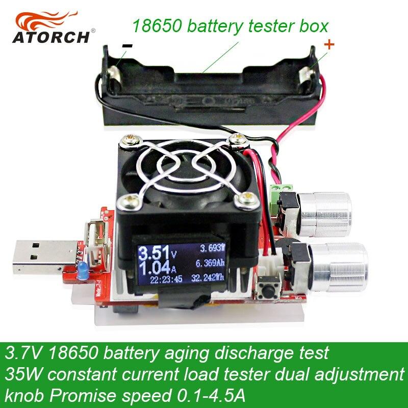 ATORCH 3.7 V 18650 Batterie Vieillissement De Test De Décharge 35 W Courant Constant Double Réglable Bouton Testeur de Charge DC USB Testeur 0.1-4.5A