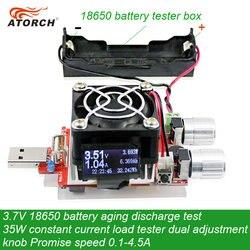 ATORCH 3,7 V 18650 batería prueba de envejecimiento de descarga 35W corriente constante doble perilla ajustable probador de carga CC USB 0,1-4.5A