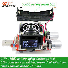 ATORCH 3.7V 18650 Battery Aging Discharge Test 35W Constant Current Dual Adjustable Knob Load Tester DC USB Tester 0.1-4.5A 110w constant current electronic load tester 10a 1v 30v battery discharge capacity test equipment