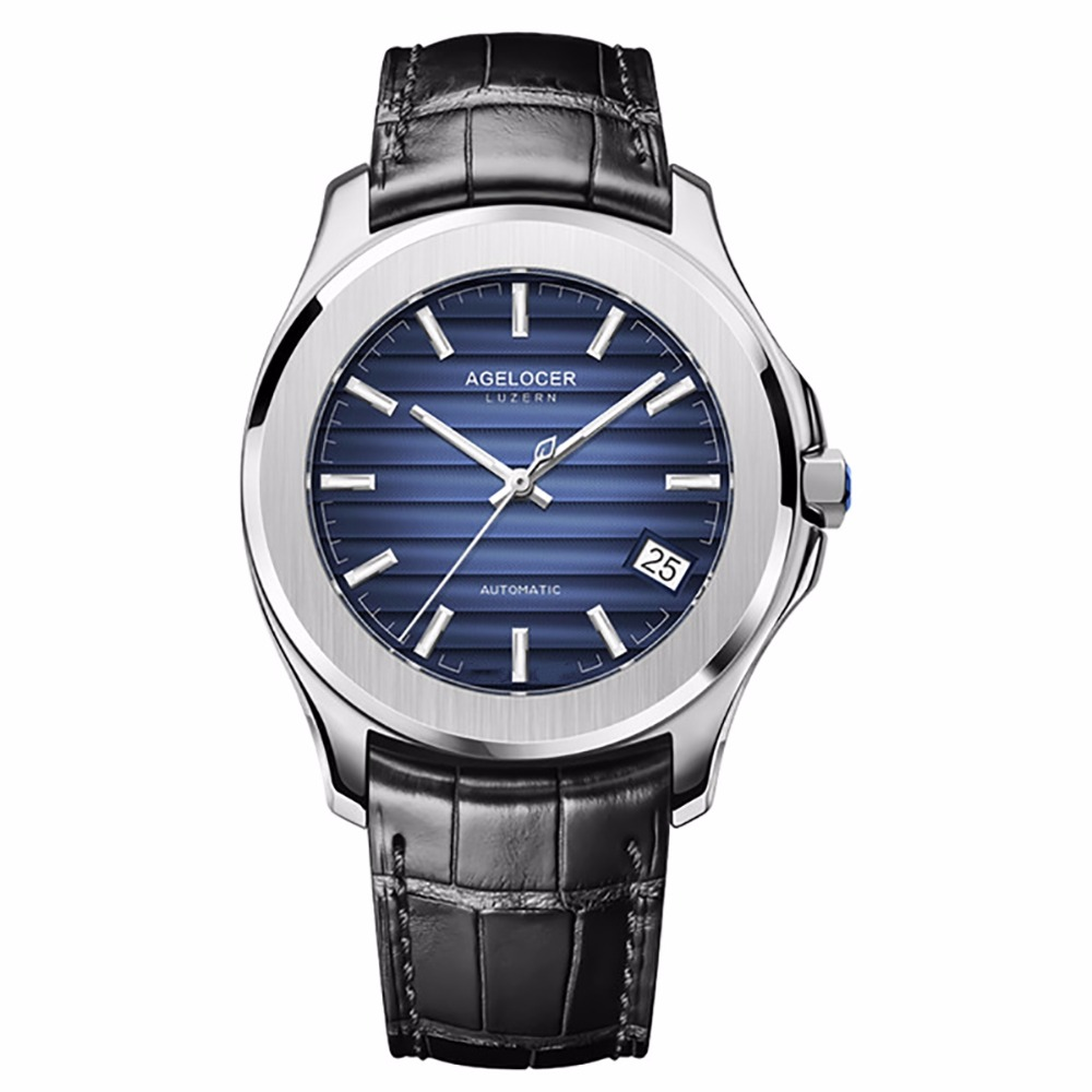 Agelocer Top Brand Luxury Dress Watches Blue Dial Steel Automatic Watches Date Luminous Waterproof Mens Watches 6304A1