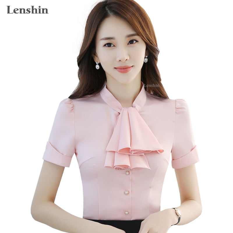 Chiffon Shirts White Bow Blouse With Tie New Fashion Style Short Sleeve Tops Women Summer Office