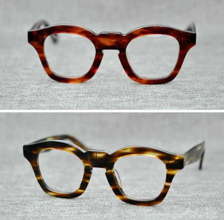63366f70686 LKK UNISEX high quality Handmade Japanese plate frame retro glasses  irregular frame thick frame street style