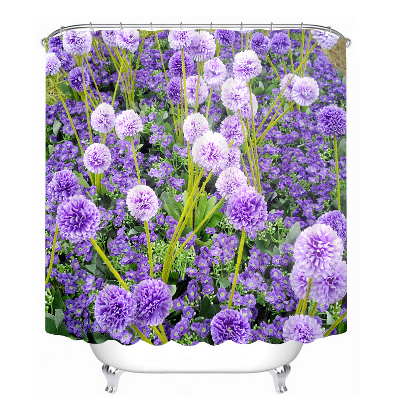 Purple Flowers Pattern 3D Shower Curtain Polyester Fabric Waterproof Shower Curtain Eco Friendly Bathroom Curtain Home