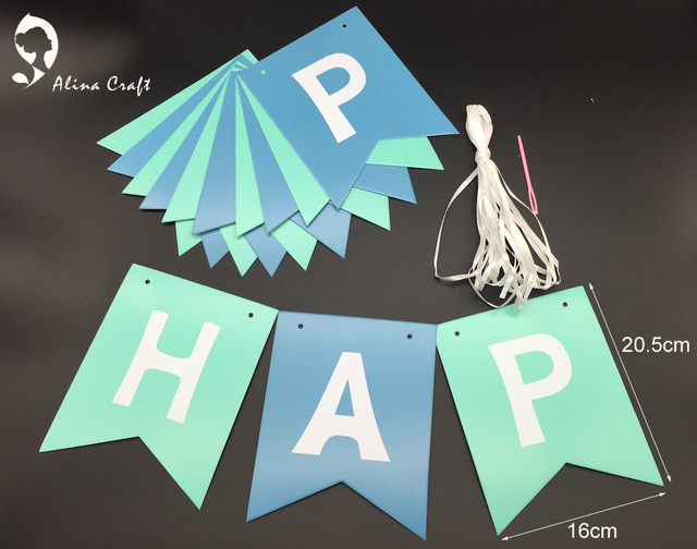 16x20 5cm banner happy birthday letters greeting fishtail blue 2