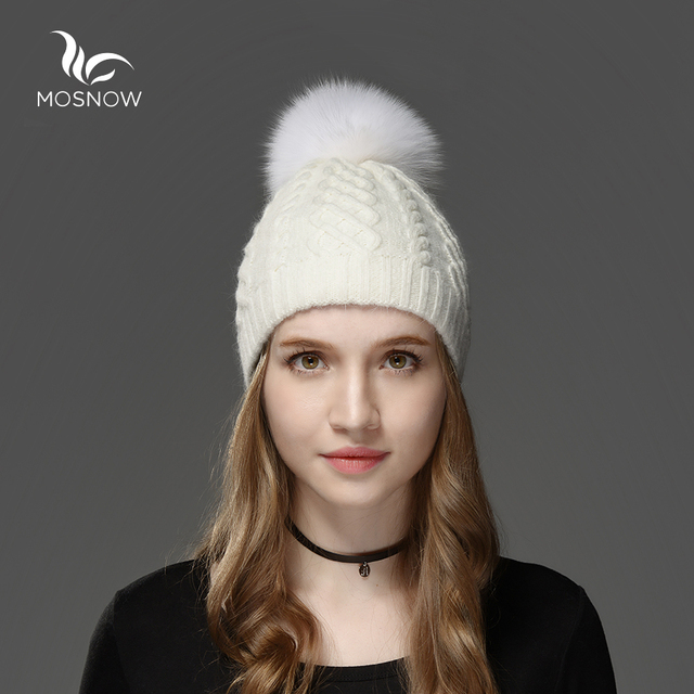 Mosnow New 2016 Rabbit Hair Fox Fur Pom Poms Winter Hats For Women  Casual Brand Vogue Knitted Warm  Hat Female Skullies Beanies
