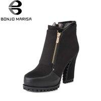 Bonjomarisa 2016 جديد الثلوج أحذية النساء أحذية سميكة عالية الكعب إضافة الفراء امرأة سحاب تشيلسي جزمة كاوبوي منصة أحذية الشتاء