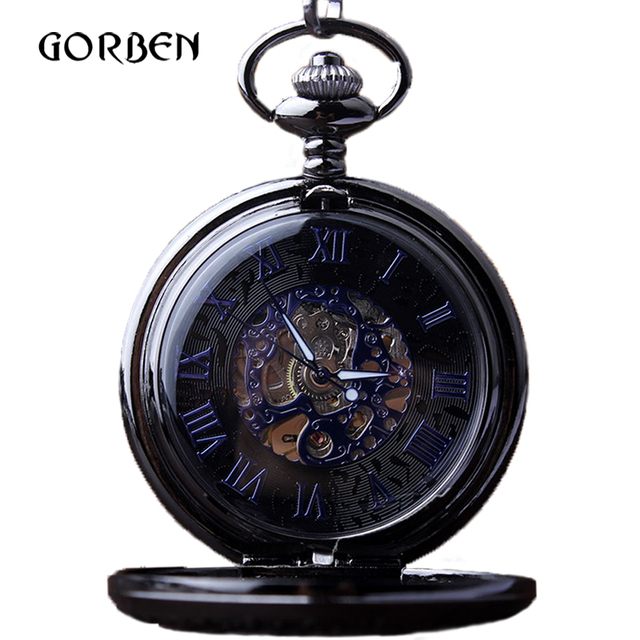 Classic Skeleton Blue Roman Numerals Dial Mechanical Pocket Watch gift box Hand Wind Fob Chain Men Pocket Watch relojes mecanic