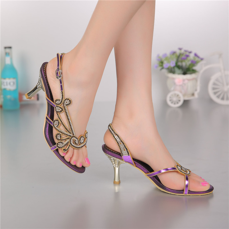 ФОТО New High Heel Sandals 2016 Summer New Rhinestone Princess Crystal Diamond Elegant Female Shoe High Quality