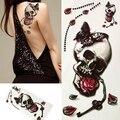 Hot sale! Halloween 3D Skull Rose Butterfly Waterproof Temporary Body Tattoo Sticker