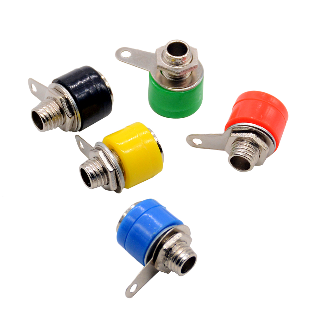 10pcs/lot Banana Plug Dia 4mm Copper Banana Jack Socket Panel Terminal, Silver Or Gold Plate Connectors Optional