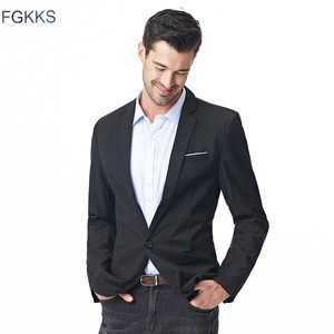 Image 1 - FGKKS New Arrival Fashion Blazer męska casualowa kurtka solidna kolorowa bawełniana męska żakiet z dzianiny dresowej męska klasyczna męska marynarka płaszcze