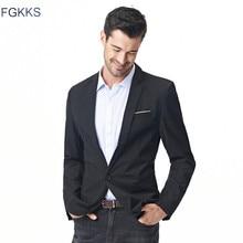 Мужской однотонный Блейзер FGKKS, классический хлопковый пиджак, повседневная куртка