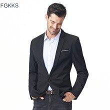 Fgkks Nieuwe Collectie Mode Blazer Mannen Casual Jas Effen Kleur Katoen Mannen Blazer Jas Mannen Klassieke Heren Blazer Jassen
