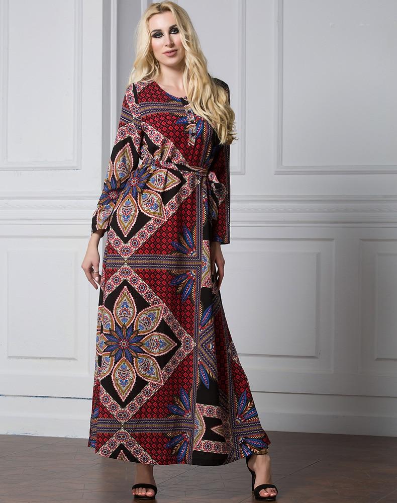 Turkish Maxi Dresses Fashion Anneyep Printed Flowers Kaftan Muslim Dress