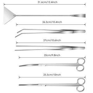 Image 3 - طقم أدوات حوض السمك ، 5 في 1 طويلة ملاقط من الفولاذ المقاوم للصدأ مقص ملعقة متعددة الوظائف حوض للأسماك لتنظيف وبدء الأسماك