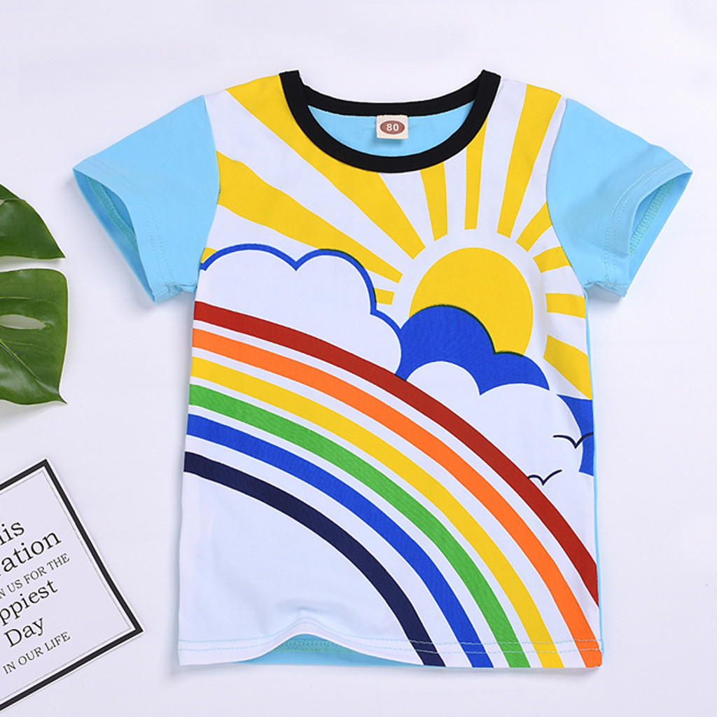 2019 Hot Sale Toddler Baby Kids Girls Boys Rainbow Moon Sun Day And Night Printed T-<font><b>shirt</b></font> Tops <font><b>Twins</b></font> Clothes Tee <font><b>Shirt</b></font> Fille image