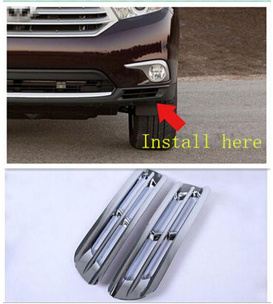 For Toyota Highlander 2011-2013 Chrome Front Bottom Fog Light Lamp Cover Trims, Auto accessories