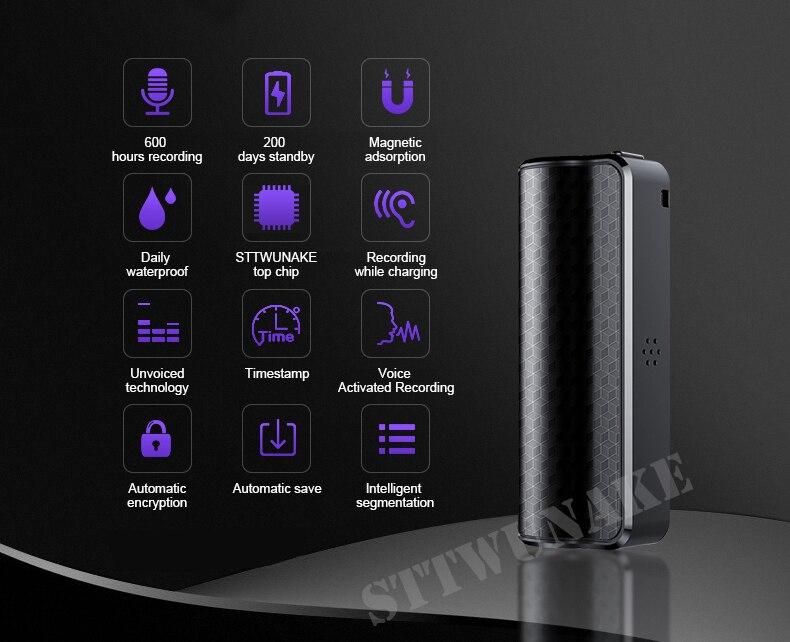 STTWUNAKE Mini enregistreur vocal Audio caché 600 heures enregistrement magnétique professionnel numérique HD Dictaphone denoise longue distance - 2