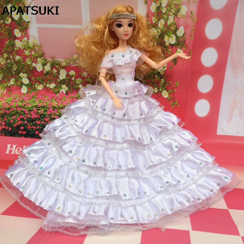 White Wedding Dress For Barbie Doll 6 Layers Hemlines