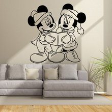 Mickey And Minnie Mouse Reading Books Together Wall Sticker Friends Read Home Decoration Vinyl Art Design Ornament W85