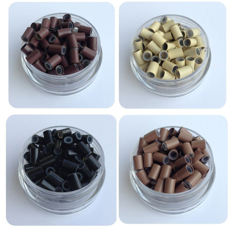 1 jar 500pcs #Brown 4.0*3.0*6.0 Copper Tube Silicone Micro Rings/Links/Beads Loop Hair Extension Tools