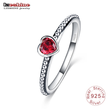 LZESHINE 2016 New Arrival 100% 925 Sterling Silver Ring Love Heart Romantic Finger Ring For Women Jewelry Red Pink White SRI0024