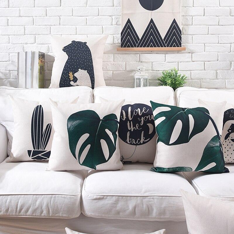 New Simple Style Black White Cute Cactus Printed Cushion Cover Tropical Plant Bear Decorative Home Car Sofa Throw Pillow Case