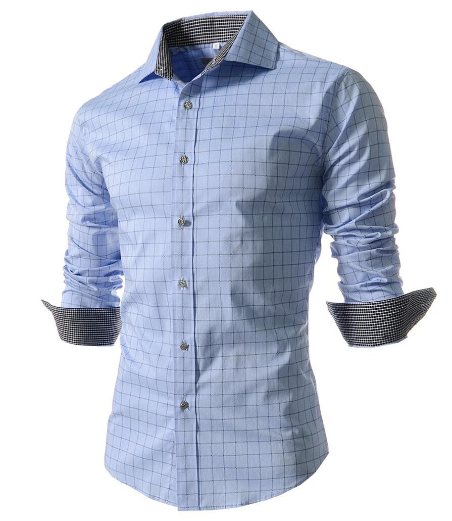 Camisa Masculina Slim Fashion Men Shirt 2016 New Brand Casual Long-Sleeved Chemise Homme Plaid Male Large Size XXXXL